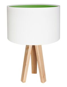 Lampe De Chevet KIDS Velours Blanc avec Intérieur Vert - par BPS Koncept