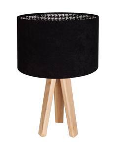 Lampe De Chevet MODERN Velour Noir avec Intérieur Motif Pied De Poule - par BPS Koncept