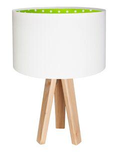 Lampe De Chevet KIDS Velours Blanc avec Intérieur Vert à Pois Blanc - par BPS Koncept