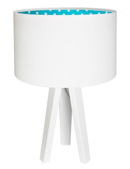 lampe de chevet kids velours blanc avec int rieur bleu pois blanc. Black Bedroom Furniture Sets. Home Design Ideas