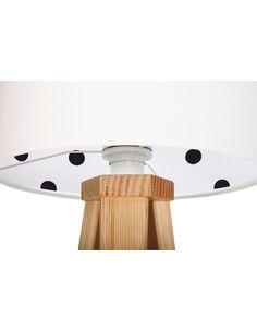 Lampe De Chevet KIDS Velours Blanc avec Intérieur Blanc à Pois Noir - par BPS Koncept