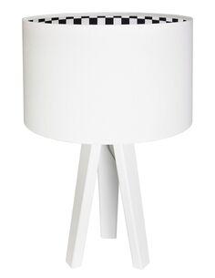 Lampe De Chevet KIDS Velours Blanc avec Intérieur à Damier Blanc Et Noir - par BPS Koncept