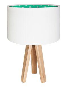 Lampe De Chevet KIDS Velours Blanc avec Intérieur Vert avec Des Étoiles Blanches - par BPS Koncept