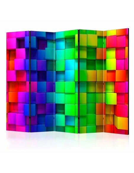 Paravent 5 volets COLOURFUL CUBES II - par Artgeist
