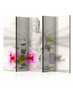 Paravent 5 volets BUDDHA AND ORCHIDS II - par Artgeist