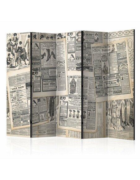 Paravent 5 volets VINTAGE NEWSPAPERS II - par Artgeist
