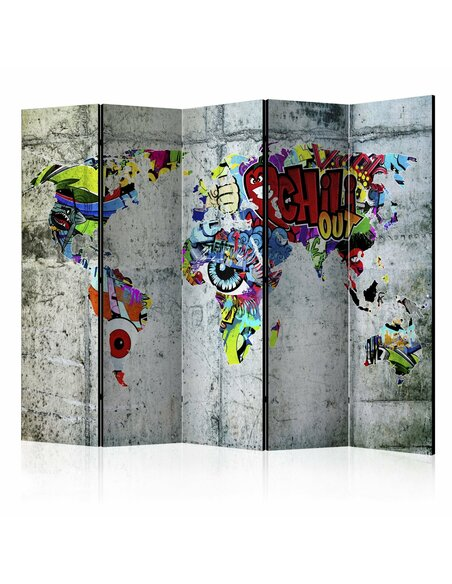 Paravent 5 volets GRAFFITI WORLD - par Artgeist