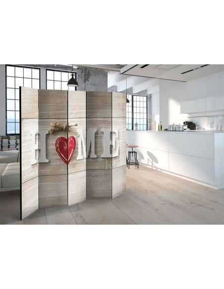 Paravent 5 volets HOME AND RED HEART - par Artgeist