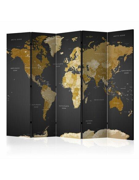 Paravent 5 volets WORLD MAP ON DARK BACKGROUND - par Artgeist