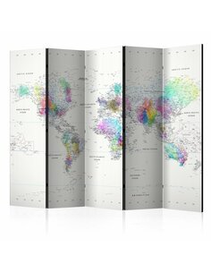 Paravent 5 volets WHITE-COLORFUL WORLD MAP - par Artgeist
