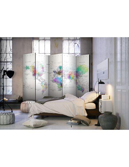 Paravent 5 volets WHITE-COLORFUL WORLD MAP - par Artgeist