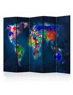 Paravent 5 volets COLORFUL MAP - par Artgeist
