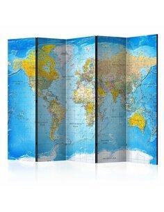 Paravent 5 volets WORLD CLASSIC MAP - par Artgeist