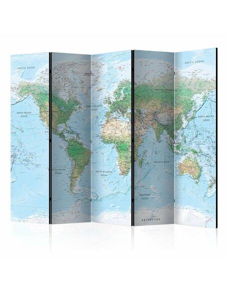 Paravent 5 volets WORLD MAP - par Artgeist