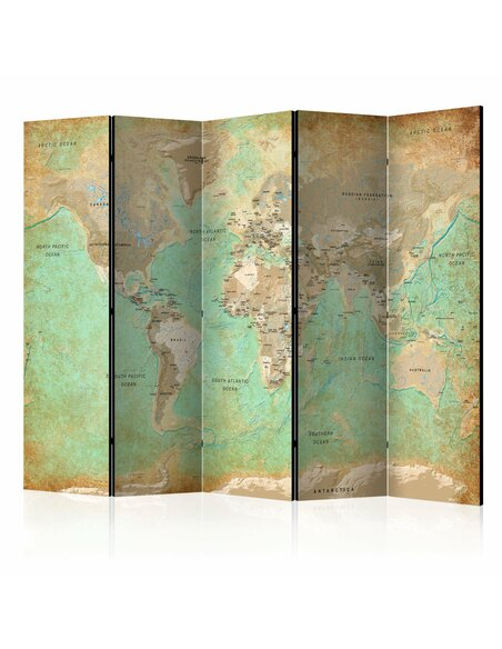 Paravent 5 volets TURQUOISE WORLD MAP - par Artgeist