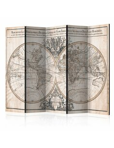 Paravent 5 volets MAPPE-MONDE GEO-HYDROGRAPHIQUE - par Artgeist