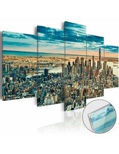 Tableau sur verre acrylique NY: DREAM CITY [GLASS] - par Artgeist