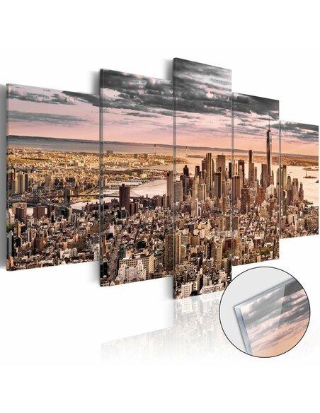 Tableau sur verre acrylique NEW YORK CITY: MORNING SKY [GLASS] - par Artgeist