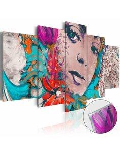 Tableau sur verre acrylique COLOURFUL COQUETTE [GLASS] - par Artgeist