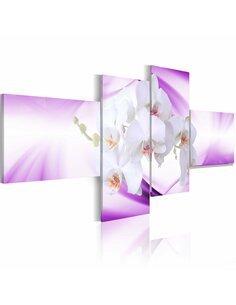 Tableau - 4 tableaux - Orchidée subtile en violet - par Artgeist