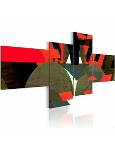 Tableau - 4 tableaux - Noir, rouge et formes abstraites - par Artgeist