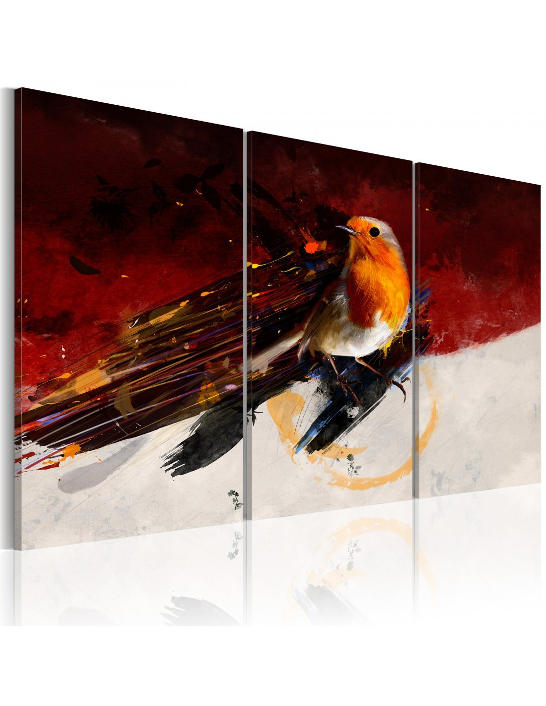 tableau triptyque petit oiseau sur le fond rouge et blanc 74 90. Black Bedroom Furniture Sets. Home Design Ideas