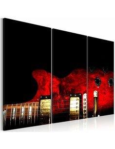 Tableau Triptyque - Guitare rouge - par Artgeist