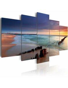 Tableau - 5 tableaux - Cocher du soleil au bord de la mer Mer Artgeist