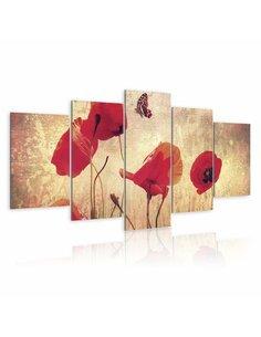 Tableau - 5 tableaux - Coquelicot et papillon - par Artgeist