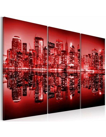 Tableau Triptyque - Big Apple en rouge vif - par Artgeist