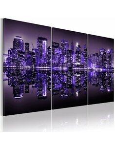 Tableau Triptyque - Manhattan en violet électrisant - par Artgeist