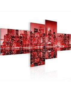 Tableau - 4 tableaux - NYC - ville en nuances de rouge - par Artgeist
