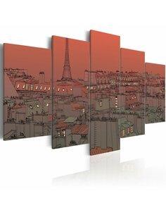 Tableau COUCHER DE SOLEIL SUR FOND DE TOUR EIFFEL - par Artgeist