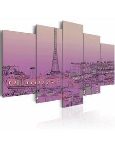 Tableau - 5 tableaux - Lever de soleil lavandé au-dessus de Paris Paris Artgeist