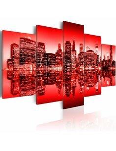 Tableau - 5 tableaux - Lumière rouge au-dessus de New York - 5 pièces New York Artgeist