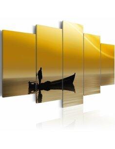 Tableau - 5 tableaux - Pêcheur et coucher de soleil - par Artgeist