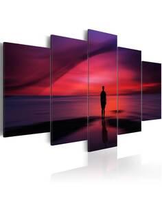 Tableau - 5 tableaux - Homme admirant le coucher de soleil - par Artgeist