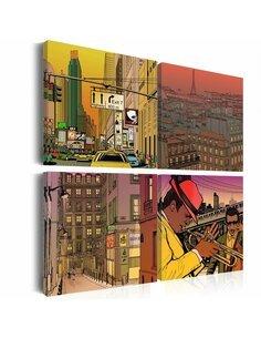 Tableau - 4 tableaux - Peut-être Paris, peut-être New york ... - par Artgeist