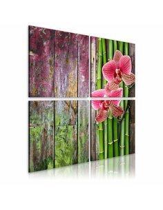 Tableau - 4 tableaux - Bambou et orchidée Zen Artgeist