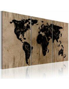 Tableau CARTE DU MONDE enCRE - Cartes du monde par Artgeist