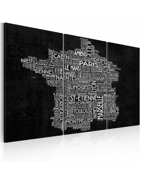 Tableau TEXT MAP OF FRANCE ON THE BLACK BACKGROUND Triptyque - par Artgeist