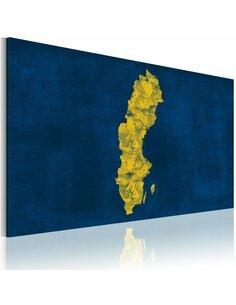 Tableau Carte Peinte De La Suède  Cartes du monde Artgeist