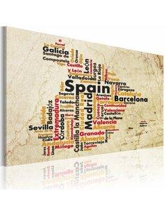 Tableau Carte: Villes Espagnoles  Cartes du monde Artgeist