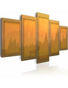 Tableau - 5 tableaux - orange paysage - par Artgeist
