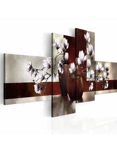 Tableau - 4 tableaux - Magnolias dans un vase - par Artgeist