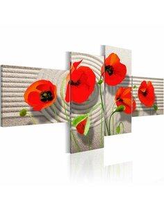 Tableau - 4 tableaux - Poppies on the sand - par Artgeist