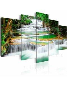 Tableau - 5 tableaux - Cascade forestière à Kanchanaburi, Thaïlande - par Artgeist