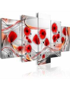 Tableau - 5 tableaux - Coquelicots en rotation - par Artgeist