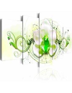 Tableau - 5 tableaux - Orchidée - expression verte - par Artgeist