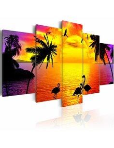 Tableau - 5 tableaux - Sunset and Flamingos - par Artgeist